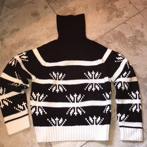 Brown and cream turtleneck sweater